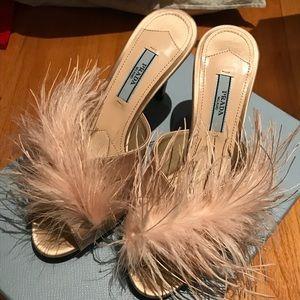 NWB $750 Prada Feather Mule Heels Pink Sz 36
