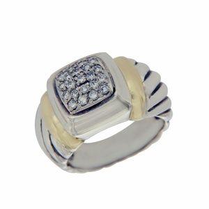 David Yurman 925 Silver & 18k Gold Diamond Ring