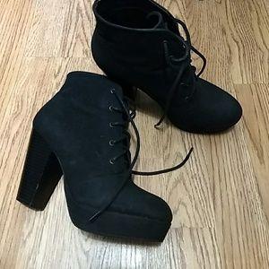Black Faux Suede heeled Booties