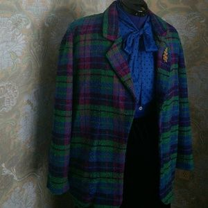 1980's Plaid Jacket - Size XL
