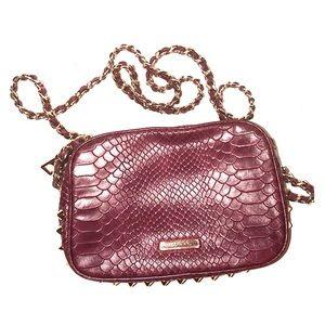 Rebecca Minkoff burgundy snakeskin rocker purse