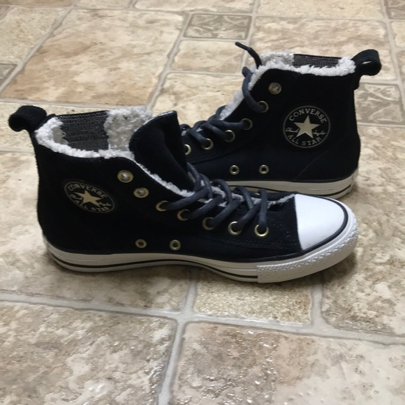 25a34ab90078 Converse Shoes - Converse Chuck Taylor suede and fur high tops NWOT