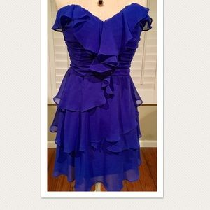 Royal blue Arden B Silk Ruffle Dress (NWOT)