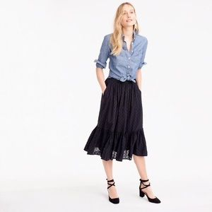 NWT J Crew Clip-dot Tiered Black Skirt