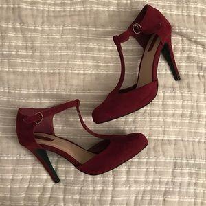 T strap heels red suede.