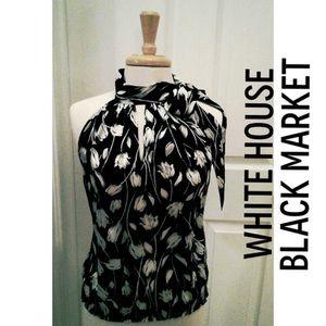 White House Black Market silk high-neck halter