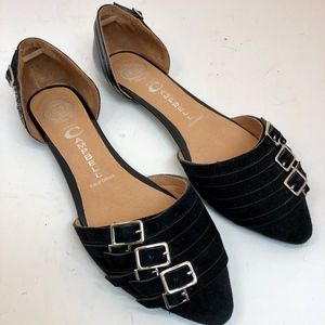 Jeffrey Campbell Buckle Pointed-Toe Flats size 8