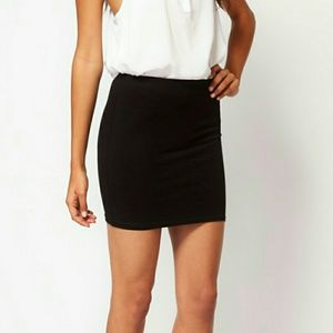 ASOS black spandex & cotton mini skirt