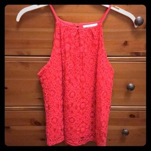 Monteau Pink Lace High Neck Tank
