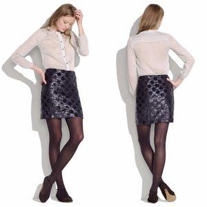Madewell Blue Black Sequin Polka Dot Mini Skirt