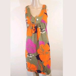 Biden Floral Shift Sheath Jersey Sundress Tunic 4L