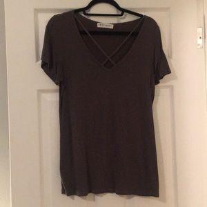 Slate grey, criss-cross neck boutique tshirt