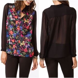 Black Floral Sheer Long Sleeve Button Down Top