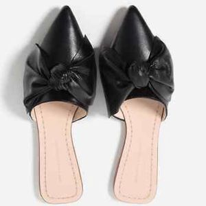 ZARA Basic Collection Pointed Bow Loafer Slides