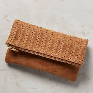 Deux lux fold over braided clutch