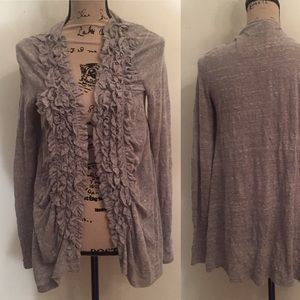 Anthro gray duster with ruffles