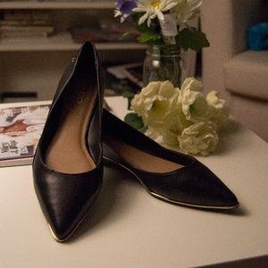 ALDO Ellenor Leather Ballet Flats w/ Gold Trim 10