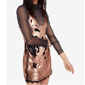 NWT Free People Seeing Double Sequin mini dress XS