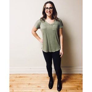 Olive Green Basic Tee with pocket detail