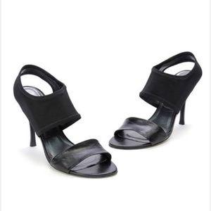 Stuart Weitzman Black Leather Stretch Sandal/Heels