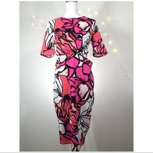 Bisou Bisou Michelle Bohbot Fushia Coral Off Dress
