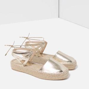 Zara Lace Up Espadrilles In Metallic