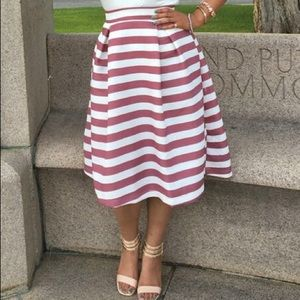 Tea length stripe skirt