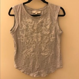 LOFT- Embroidered Tank Top