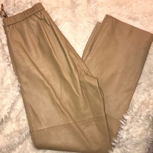 Leather high waist trousers