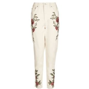 NWT Topshop White Rose Embroidered Mom Jeans