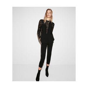 black Express pieced lace jumpsuit