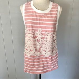 Anthropologie, Postmark, Striped Tank Lace Overlay