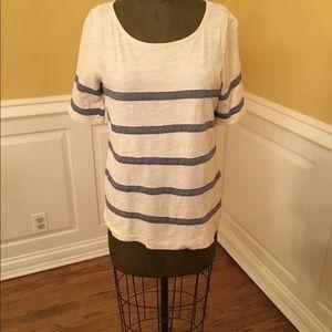 J Crew Cream/Blue Striped Shirt