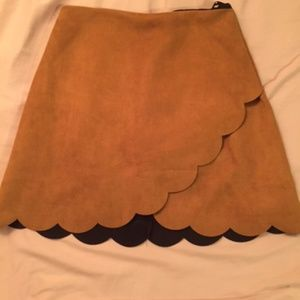 Skirts - Scalloped Suede Skirt