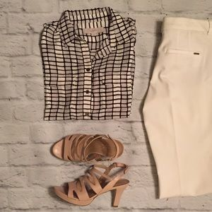 LOFT Black, White, and Gray Checked Blouse