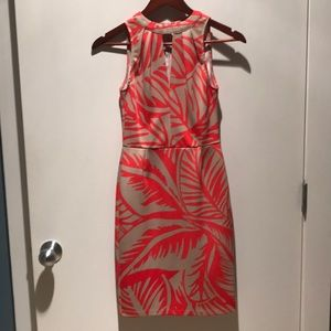 Coral floral cocktail dress