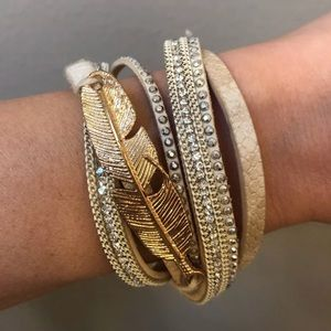 Jewelry - Leather Wrap Bracelet Gold Feather Magnetic