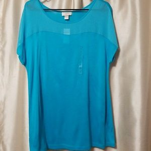 NWT Blue sheer detail short sleeve top by LOFT