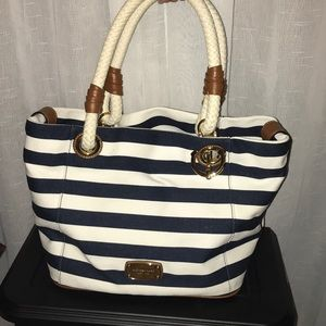 Michael Kors Satchel Marina Striped Canvas Bag