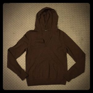 jcrew cashmere hooded vneck sweater pullover brown