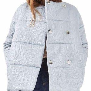 TOPSHOP Jacquard Satin Puffer Jacket  Size 8