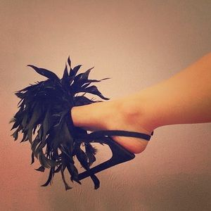 Jeffrey Campbell Black Feathered Heels