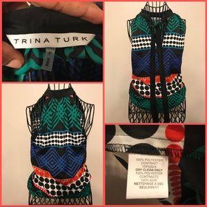 Trina Turk Multi Color Tie Blouse