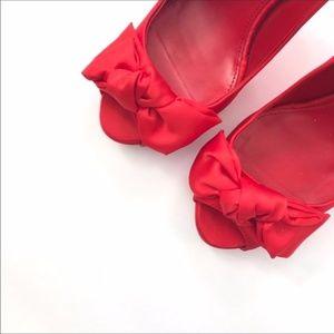 Zara Red Satin Heels