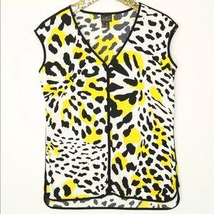 Worthington Shirt Medium White Black Yellow