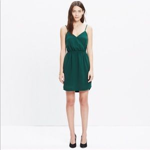Made well - wrap-front cami dress in green