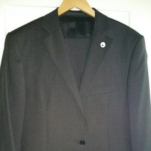 Black wool crepe two-button suit