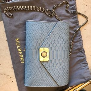 Mulberry Blue python leather Delphie cross body