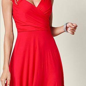 Venus Red draped front dress Large