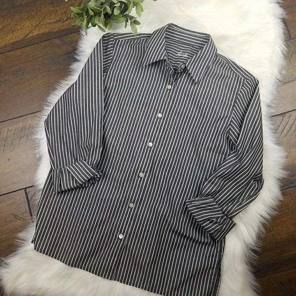 8fb6006f8 Foxcroft Tops | Grey Striped No Iron Shirt Sz M | Poshmark